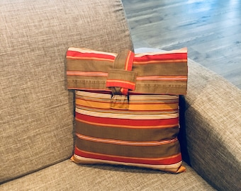 Southwest Style Pillow Cover, 14 x 14, Cushion Cover, Laptop Sleeve, Recycled, Striped Cover, Zero Waste Gift, Travel Bag, Graduation Gift