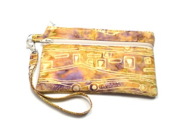Smartphone iPhone Cell Phone Case, Double Pocket Wristlet, Detachable Strap, Purple and Yellow Gold Batik 4068