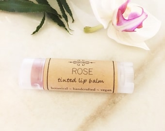 Tinted Lip Balm • Rose Lip Tint •  Natural Lip Balm • Earth Mineral Cosmetics •