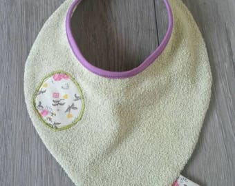 Handmade / floral green and cotton Terry baby bib