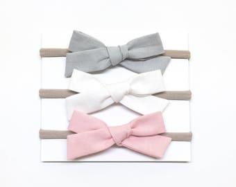 Baby Headband Bows - Shadow White Dusty Pink - Baby Headband - School Girl Bows