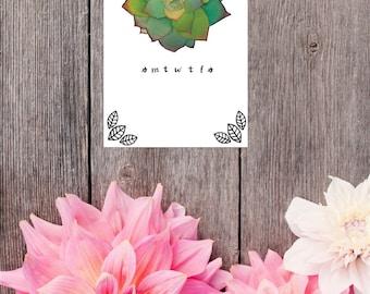 Succulent Calendar - Digital Download/Printable