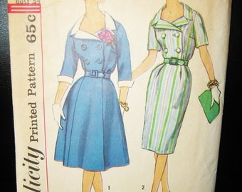 Simplicity Dress Pattern #3859, Size 14, Flared Or Pencil Skirt, Double Breasted, Vintage 1950 Or 1960 Pattern, Complete, Slenderette