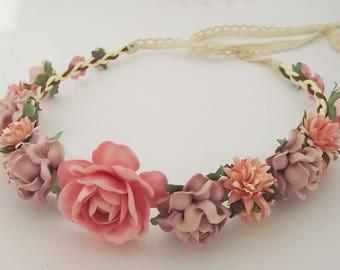 Flower crown Wedding floral crown festive flower headband Oldrose tone