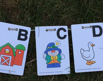 Alphabet bunting - A,B,C - flash cards - over 10 foot long - great for nursery or preschool wall - learning - educational - colourful