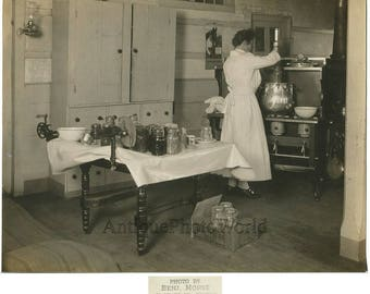 Woman cook making canned preserves EZ seal jars antique cooking photo