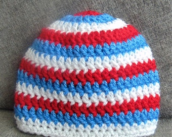 Newborn, Baby Beanie Hat, Red, Blue, White, Stripes, Cute, Baby Birth or shower gift, funky Hat, Striped Baby Beanie, Hospital Hat, crochet,