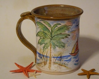 BEACH MUG, PALMETTO Trees, Palm Tree Mug, 12-14 oz Latte Mug, Tropical Beach Mug, Sailboat, Ocean Mug