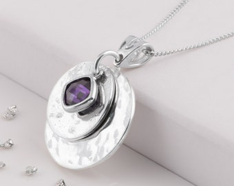 Sterling silver birthstone memorial pendant