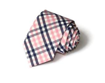 Pink and Navy Tattersall Necktie~Anniversary Gift~Wedding Tie~Necktie~Mens Gift~Boys Necktie~Mens Necktie~Pink Navy Wedding~Tattersall Tie