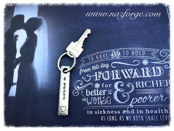 Wedding Anniversary Gifts 6 Years: 6th Year Iron Wedding Anniversary Keychain Gift Idea For Wife