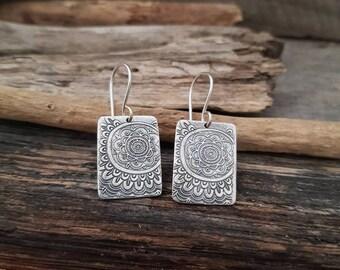 Rectangle Earrings, Boho Earrings, Sterling Silver Dangle Earrings, Flower Mandala Earrings, Everyday Eearrings, Minimalist Silver Earrings