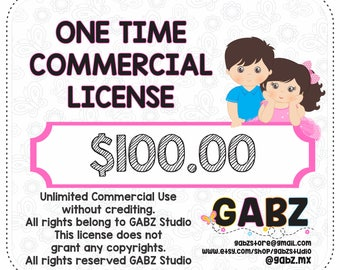 One Time Commercial License for GABZ Clipart Digital Download Products, Not available for use of discount coupons, Gabz