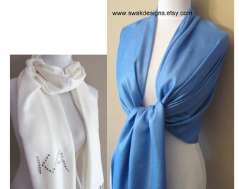 Blue Pashmina Scarf Wedding Pashmina Bridal Shawl Wedding Shawl Bridesmaid Gift Idea Scarf Wrap Stole - or CHOOSE Your Color