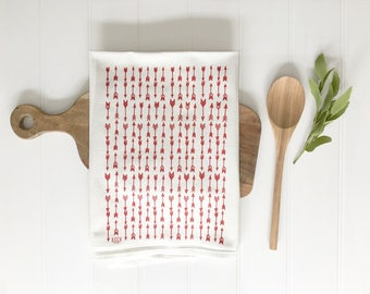 Tea Towel - Red Arrows Flour Sack Modern Rustic Kitchen Screen Printed Cotton Dish Cloth Woodland Home Decor Minimalist