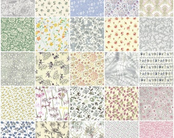 "Low volume Liberty print charm pack, 36 5"" patchwork squares in low volume pale prints"