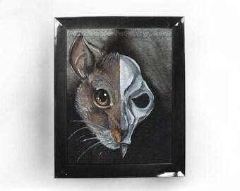 Rat Print, Skull Art, Custom Size, Gothic Decor, Mouse Skeleton, Animal Illustration, Halloween Decoration, Pet Owner Gift, Memorial Art