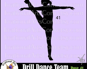Drill Dance Team Silhouettes Pose 41 - with 1 EPS & SVG Vinyl Ready files and 1 PNG digital file and commercial license
