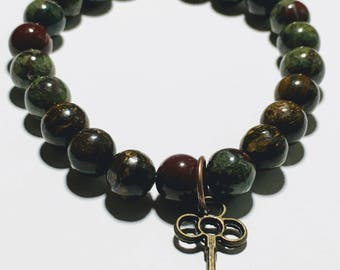 8mm Bronzite & Dragon's Blood Jasper
