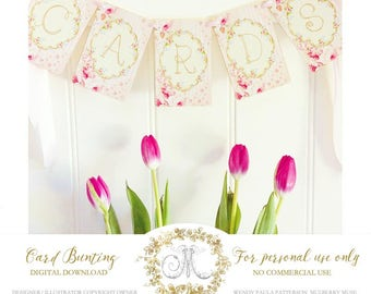 Bunting, banner, digital, CARDS, instant download, wedding, event, party printable in pink and gold, 8.5x11 Personal use only