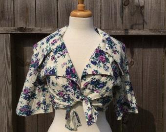 Vintage FLORAL Rose Tie Front Crop Top Women's Medium