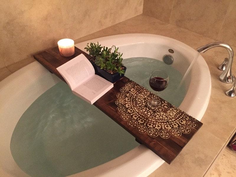 MANDALA BATH CADDY | Customized Bath Caddy | Bath Tub Tray | Tub ...