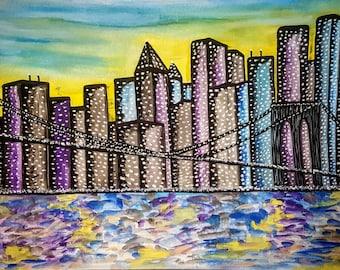 Watercolor Painting:  I Love NY