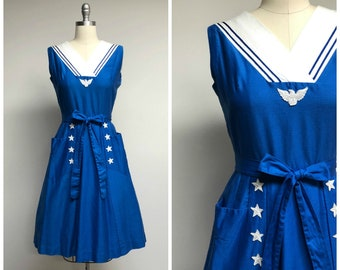 Vintage 1950s Dress • Ahoy • Blue White Sailor Wrap 50s Dress by Swirl Size Small