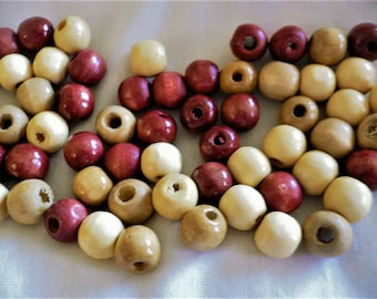 65 Earth Tone Round Wood Beads, Assorted Shades - Brown, Light Tan, Beige.  Jewelry Supply