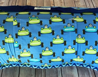 "2"" thick cushy EXTRA LONG MEMORY Foam Nap Mat Nap Roll in Start Your Engines Designer Print with Personalized Embroidery"