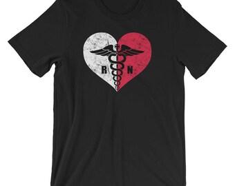 Poland Registered Nurse Flag T-Shirt, Polish RN Nurse Caduceus Symbol Souvenir Tee Shirt, Caduceus In Poland Heart Logo Shirt Gift