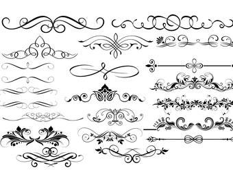 Ornament Svg, Ornament Clipart, Divider Silhouette, Ornament Svg File, Flourish ornament, ornament Bundle, ornament cricut Buy 2 Get 1 FREE