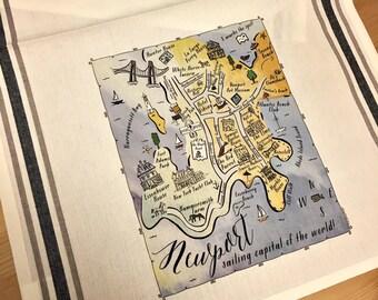 Newport (RI) Color Map Kitchen Tea Towel