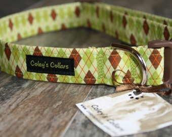 """Argyle Dog Collar, Dog Collar, Dog Collars, Boy Dog Collar, Girl Dog Collar, Male Dog Collar, Green Dog Collar, """"The Bookworm in Green"""""""