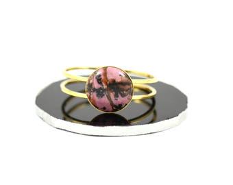 Crystal Cuff Bracelet--Rhodonite Bracelet