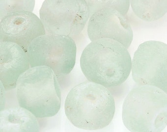 Glass Beads-20mm African Powder-Clear-Matte Rondelle-Quantity 1