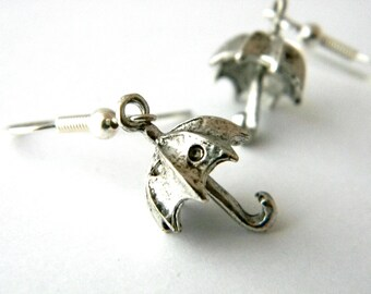 Umbrella Earrings 3D Umbrella Earrings Three Dimensional Silver Color Earrings