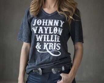 Johnny, Waylon, Willie, & Kris v-neck mineral wash