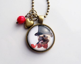 Steampunk Dog Necklace - Dog Pendant -  You Choose Bead and Charm - Custom Jewelry - Fancy British Dog with Pipe - Animal  Pet Jewelry