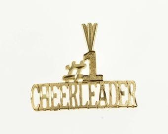 14k #1 Number One Cheerleader Cheer Word Pendant Gold