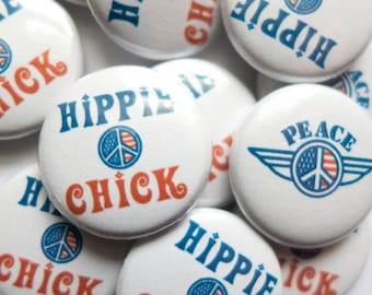 """4 Peace Sign Pins, Peace Button, 4 Hippie Pin, 1"""" Pinback Peace Pins for Jackets, Peace Badge, Hippie Chick Peace Symbol Pins"""