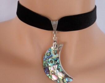 moon choker, black velvet choker, stretch ribbon, abalone shell, green pendant