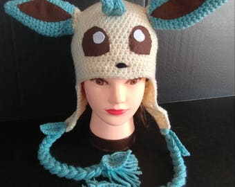 Leafeon Beanie, Cosplay Leafeon Hat, Cosplay Hat, Crochet Leafeon Hat, Cosplay Beanie, Women's Hat, Cosplay Pokemon Hat, Pokemon Hat