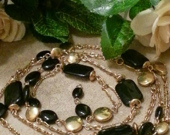 Long Gold and Black Bead Gypsy Length Necklace and Enamel Earrings, CLEARANCE