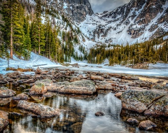 Sundown at Dream Lake by Adam Jackson, 2018, Rocky Mountain National Park, Colorado, Digital Print