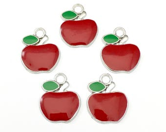 5 apple charms red enamel and silver tone,17mm x 21mm #CH 296