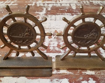 Solid Brass Ships Wheel Bookends