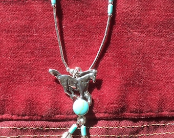 Native American Navajo Design Horse necklace with turquoise beads and feathers in Sterling Silver Sterling Silver Necklace