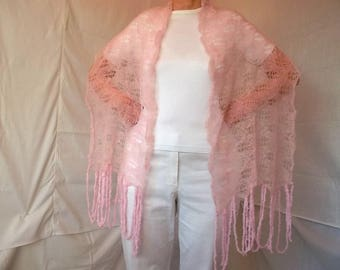 LIQUIDATION Stock SALE 25% OFF / Women Stole Shawl Wedding Bridal Accessories Shrug Cape Hand Knitted Pink Crochet Bolero Capelet Handmade