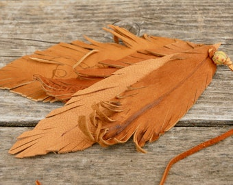 Saddle Leather feathers, Purse charm, brown leather feathers